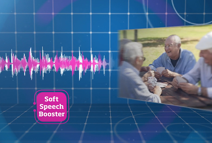 old people playing cards and the soft speech booster