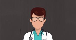 Photo of doctor on blank bg.
