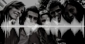 sound waves over picture of ppl